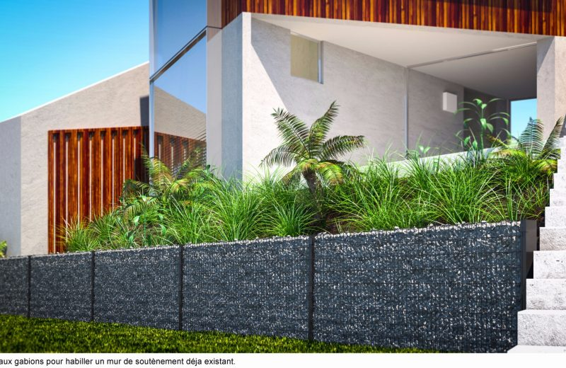 Cloture gabion murale gris anthracite